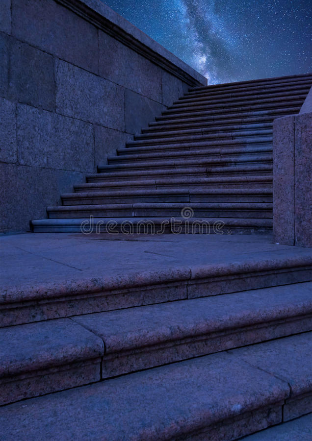 Quay stairs at night. stock images