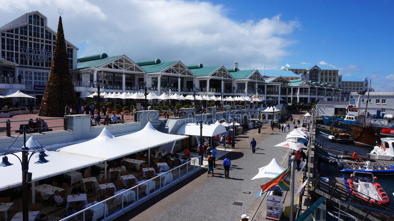 Quayside street in Waterfront area in Cape Town, South Africa. stock photos