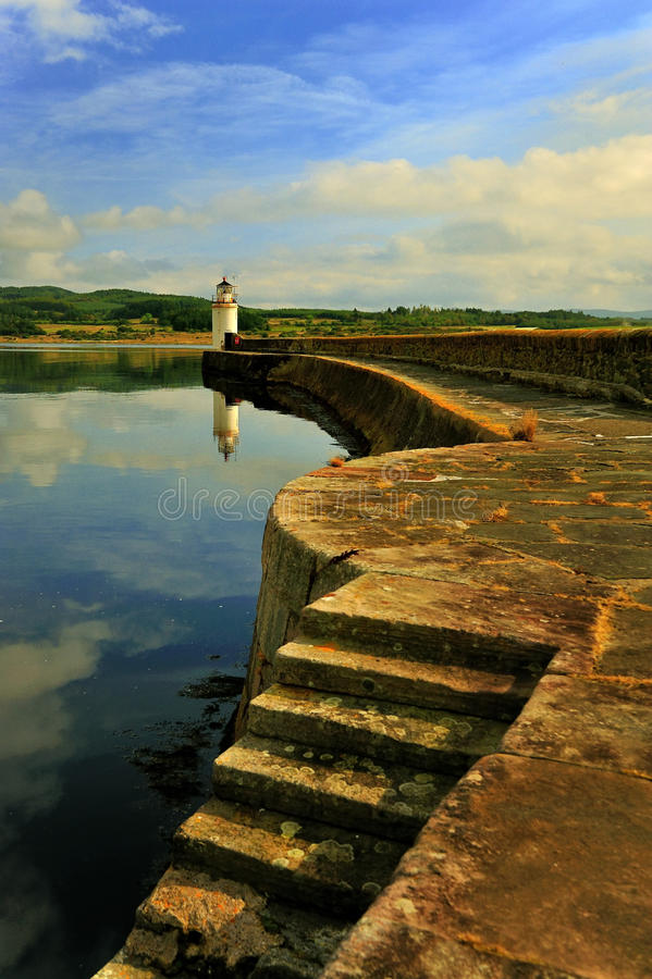 Quayside vuurtoren, Ardrishaig, Schotland stock afbeelding