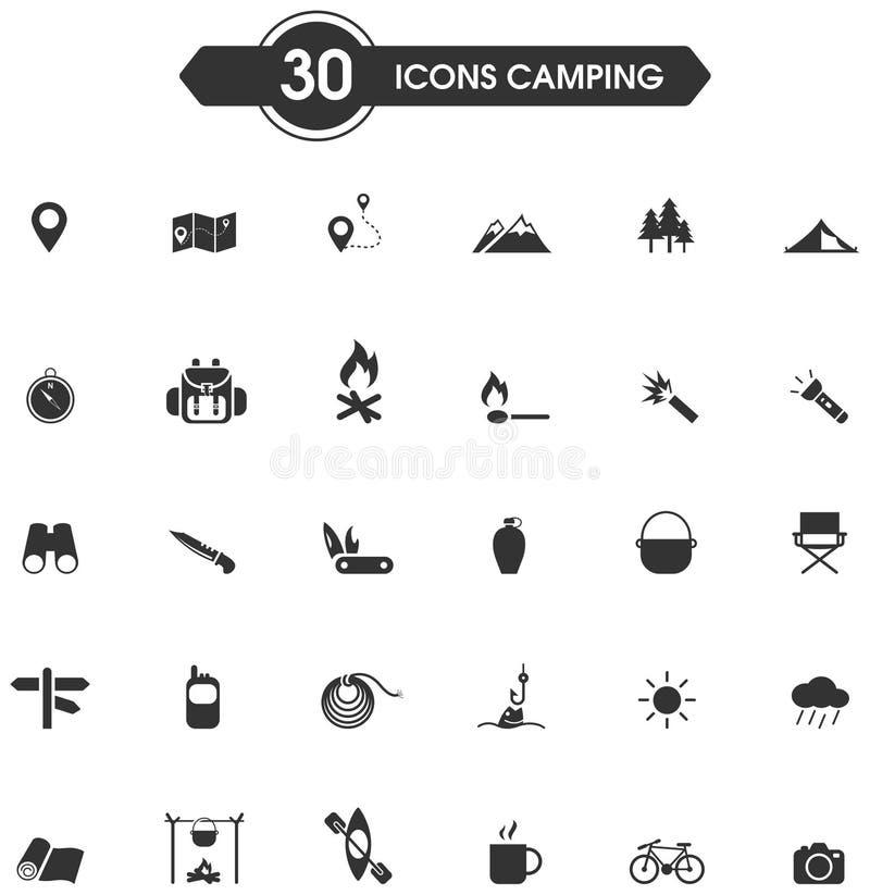 30 que acampam e o sinal da silhueta da atividade de lazer da natureza e o grupo exteriores do ícone do símbolo, criam pelo vetor ilustração royalty free