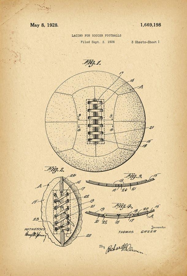 1926 que ata para la invención de la historia de la patente de los fútboles del fútbol foto de archivo libre de regalías