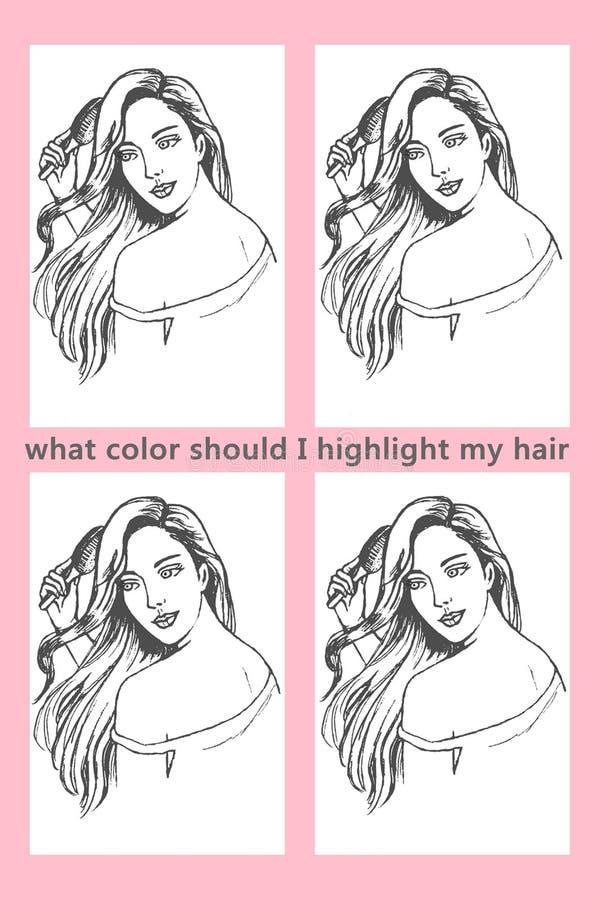 Que cor mim destaca minha imagem da coloração de cabelo fotos de stock royalty free