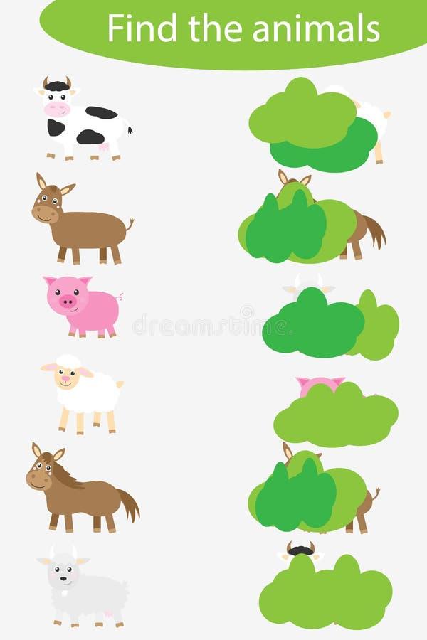 Que estão escondendo, combinando jogos com animais de fazenda para crianças, jogos educacionais divertidos para crianças, tarefa  ilustração stock