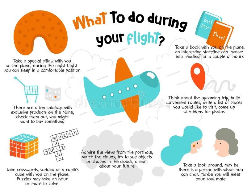 Que faire pendant votre vol infographie Conseils, recommandations pour les passagers ennuyés illustration stock