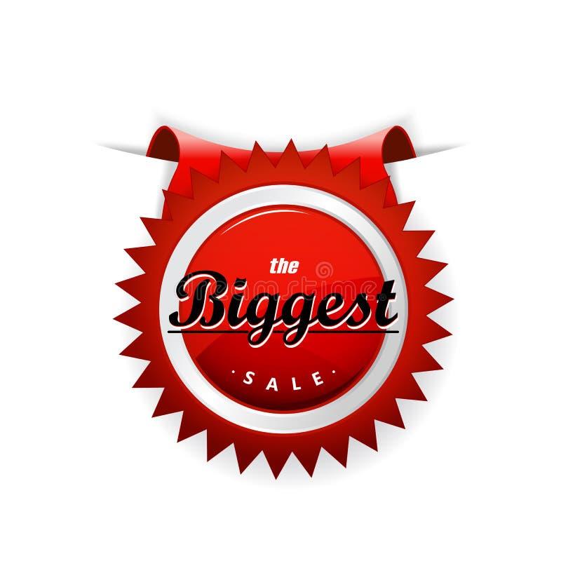 ` Que la insignia roja del ` más grande de la venta sticked en la hoja de papel stock de ilustración