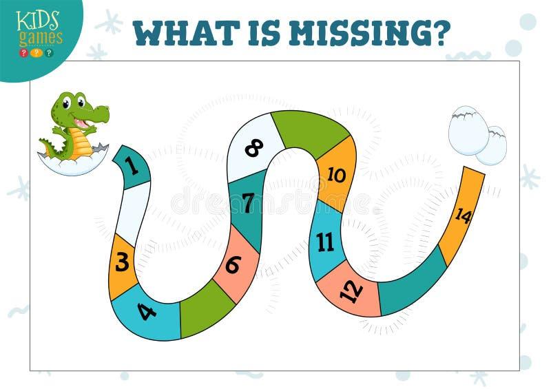 Que número é jogo e questionário prées-escolar faltantes da matemática das crianças ilustração royalty free