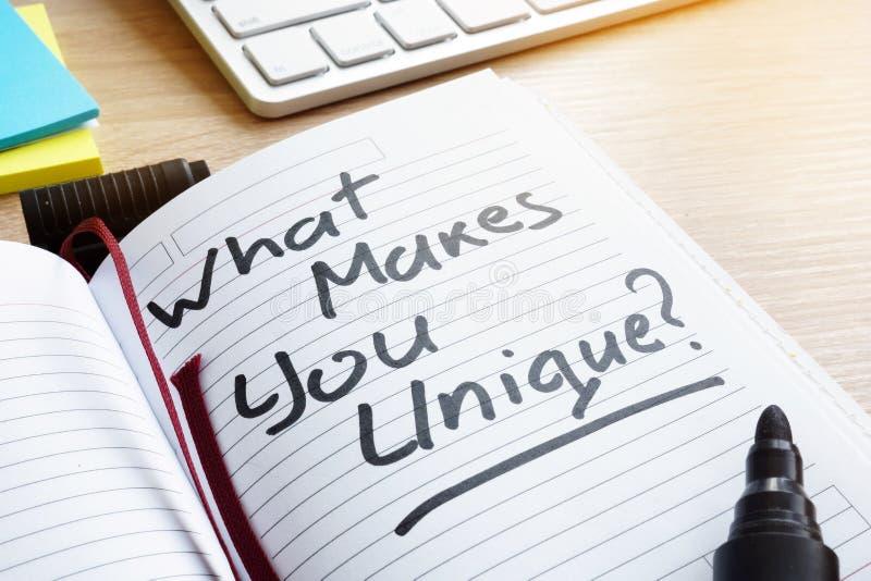 Que o faz original? escrito em uma nota imagem de stock