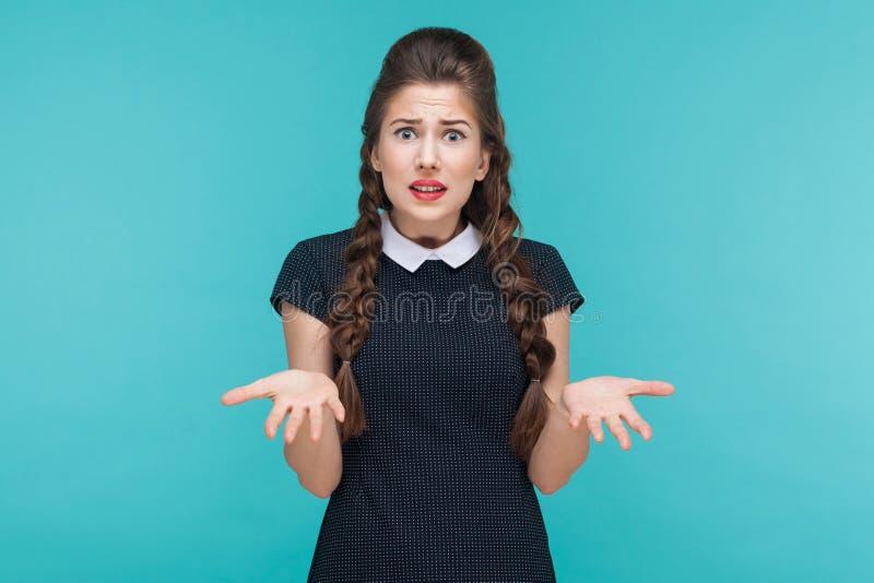 Que? Preocupação nova do budinesswoman da expressão e confundido imagem de stock royalty free