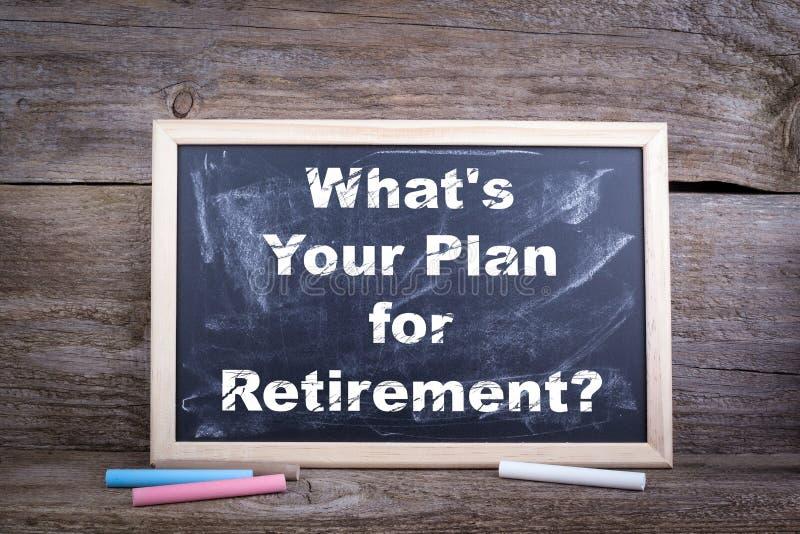Que ` s seu plano para a aposentadoria Fundo da placa de giz foto de stock royalty free