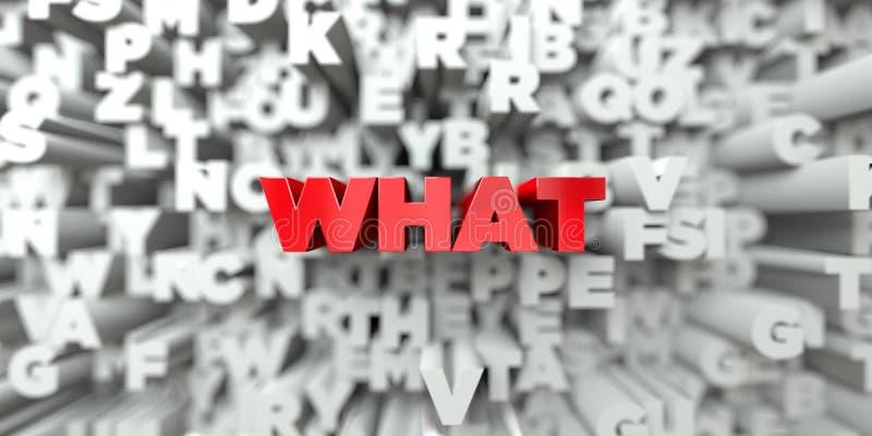 QUE - Texto vermelho no fundo da tipografia - 3D rendeu a imagem conservada em estoque livre dos direitos ilustração stock