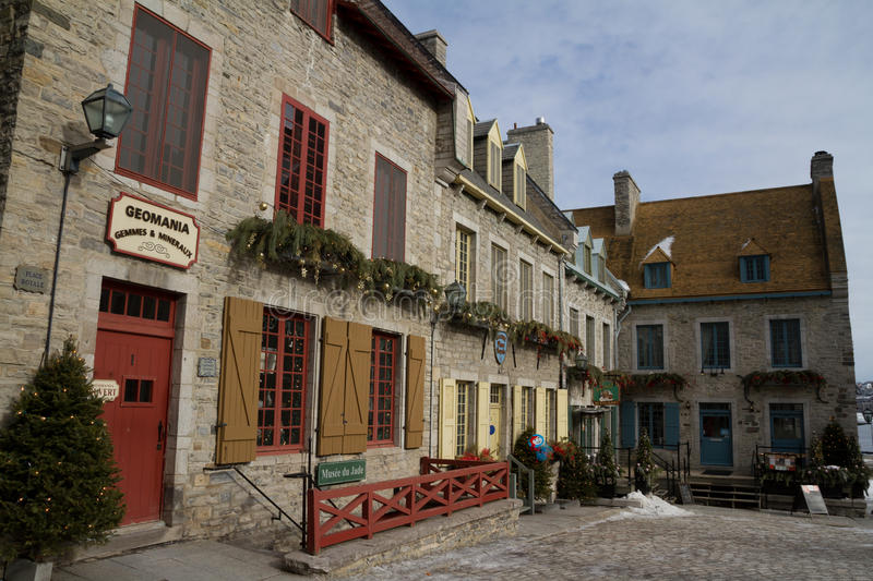 Quebec, Canada - February 03, 2016: View of the Place Royale, pa. Rt of Old Quebec, a UNESCO world heritage treasure during winter stock photos