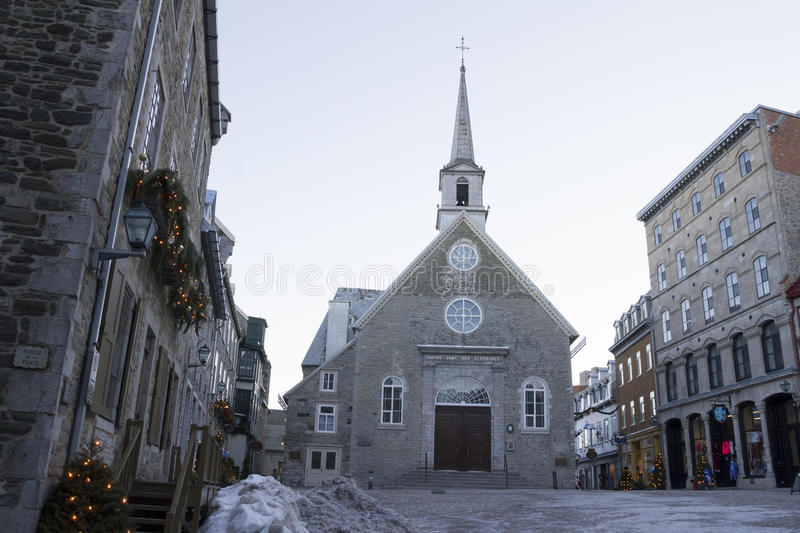 Quebec, Canada - February 03, 2016: View of the Place Royale, pa. Rt of Old Quebec, a UNESCO world heritage treasure during winter stock image