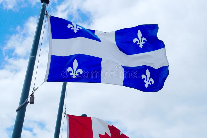Quebec canada flag pole french canadian country culture montreal city. Quebec flag canada province french culture nation royalty free stock images