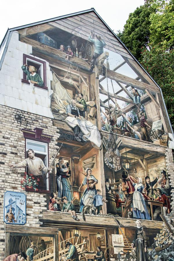 Quebec Canada 13.09.2017 Fresco Fresque Quebecois painting art wall Place Royale Old lower town painted city history stock images