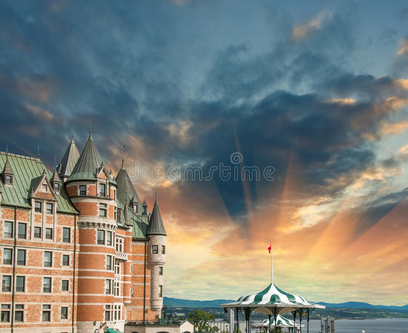 Quebec, Canada. Terrific view of Hotel de Frontenac with colourful sky royalty free stock image
