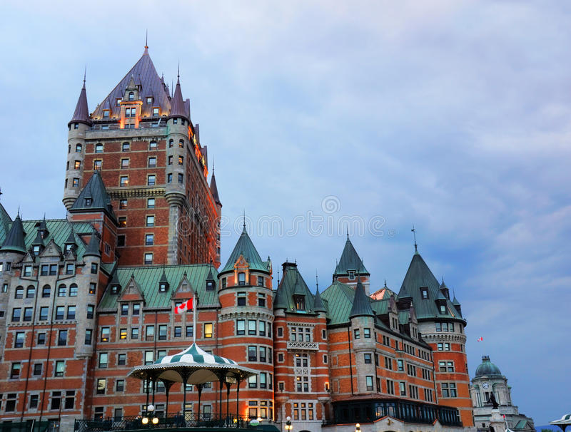 Quebec Chateau Frontenac at sunset. Chateau Frontenac at dusk, Old Quebec, Canada, historical landmark stock photo