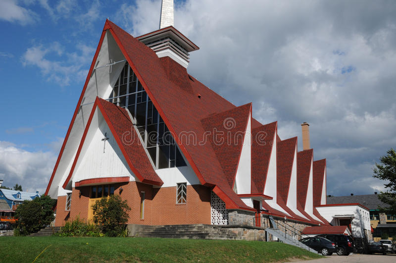 Quebec, the church Sainte Croix in Tadoussac royalty free stock image