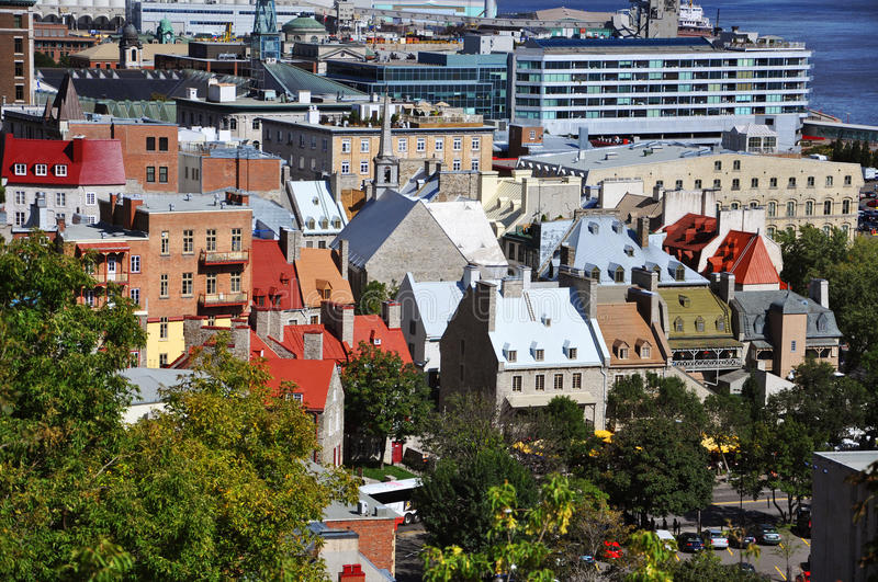 Quebec City, Canada. Quebec Lower City in summer, Quebec, Canada. Historic District of Quebec City is UNESCO World Heritage Site since 1985 royalty free stock images