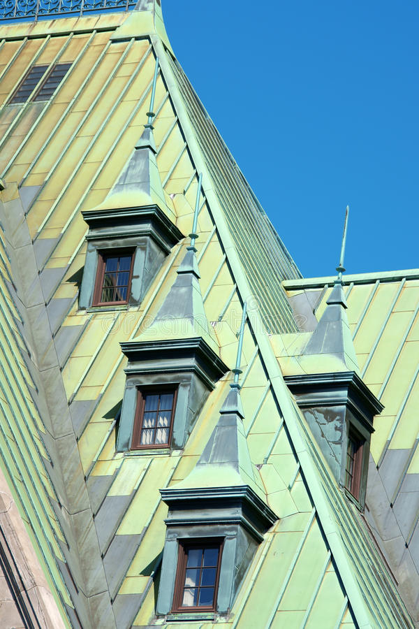 Quebec City, Canada. Old copper roofs from the railway and bus station complex in Quebec City, Canada royalty free stock photos