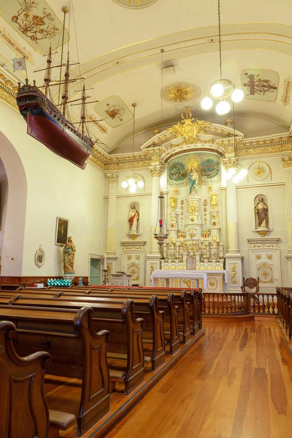 Historic Notre-Dame-des-Victoires Church in Old Quebec stock photography