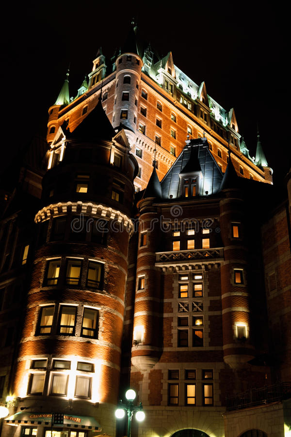 Chateau Frontenac Hotel in Quebec City by night stock photo
