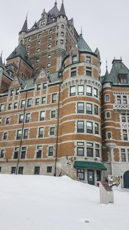 Quebec City, Canada Fairmont Le Chateau Frontenac facade. Day snow external view of the iconic grand hotel inside the walls of Old Quebec royalty free stock photography