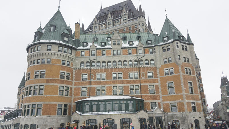 Quebec City, Canada Fairmont Le Chateau Frontenac facade. Day snow external view of the iconic grand hotel inside the walls of Old Quebec stock photos