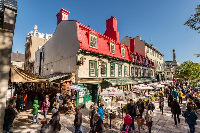 Sainte-Anne street in the Old Quebec City stock photo