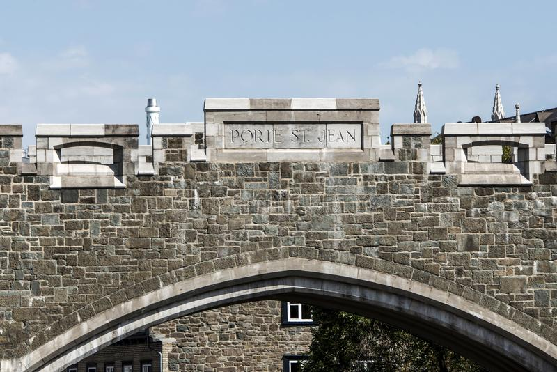Quebec City, Canada Saint John`s Gate Fortress entrance to old town street. Quebec City, Canada -Saint John`s Gate Fortress entrance to old town street royalty free stock photos