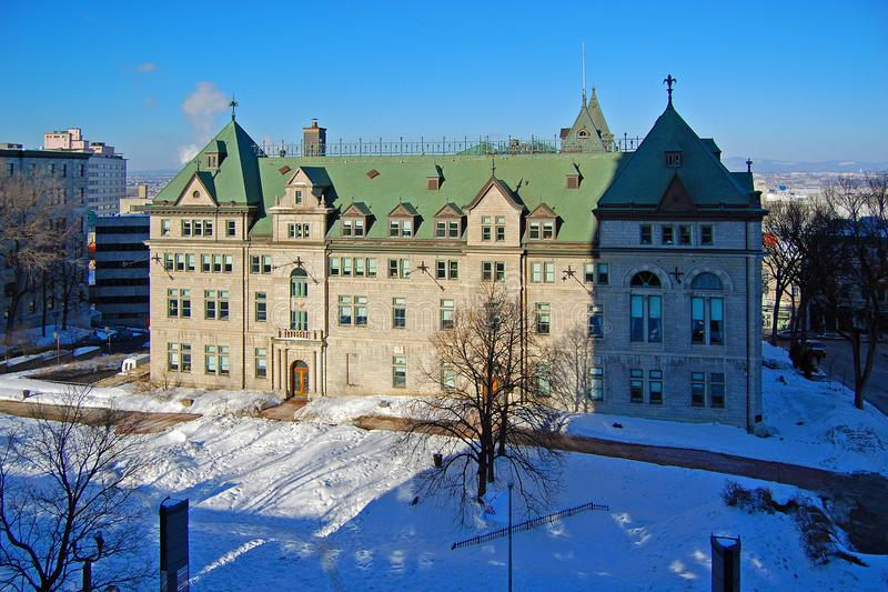Quebec City City Hall, Quebec, Canada. The Hotel de Ville City Hall in winter, Quebec City, Quebec, Canada. Historic District of Quebec City is UNESCO World royalty free stock photography