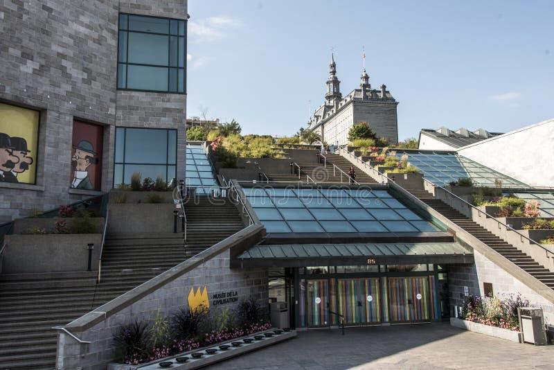 Quebec City Kanada 19 09 Ingång 2017 av det Musee de la Civilisation Historisk området av UNESCOvärldsarvet arkivfoto
