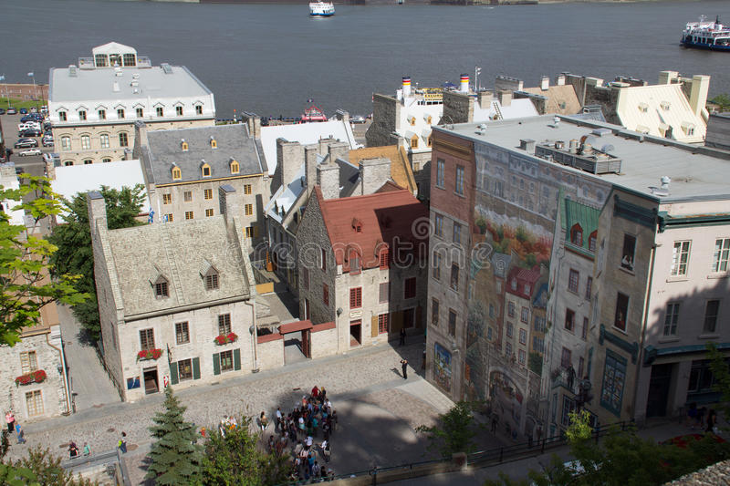 Quebec city mural stock image