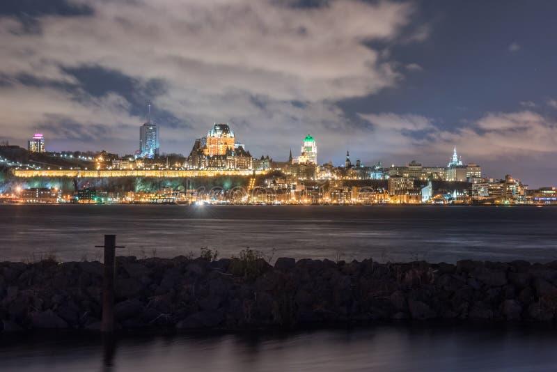 Quebec City Panorama at Night stock photo