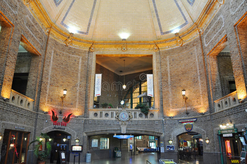 Quebec City Railway Station, Canada. Interior of Quebec City Railway Station Gare du Palais, historical building in Quebec City, Canada. Old Quebec City is a stock photos