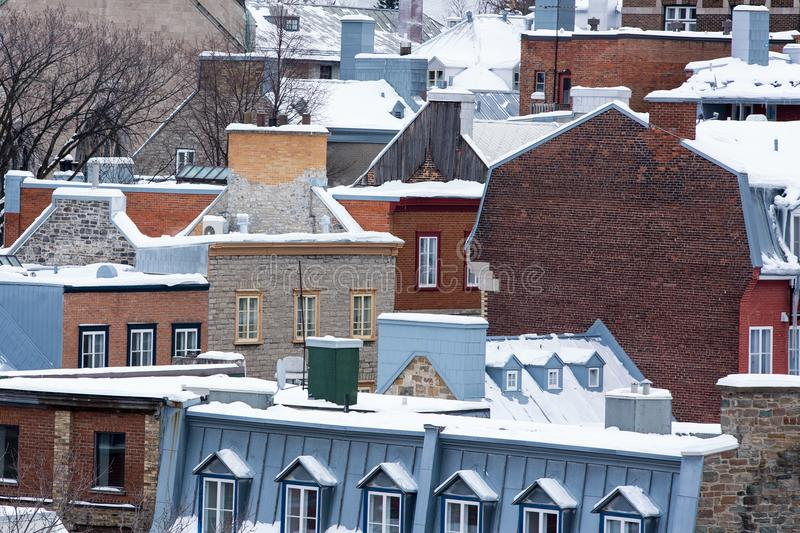 Quebec City rooftops with snow stock photo