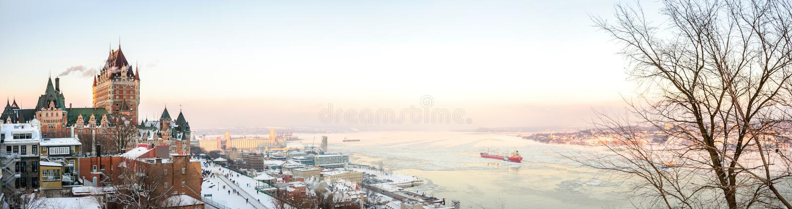 Quebec City skyline panorama with Chateau Frontenac stock photography