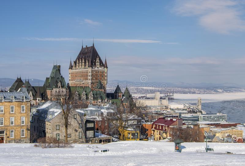 Quebec City Skyline in the Snow stock photography