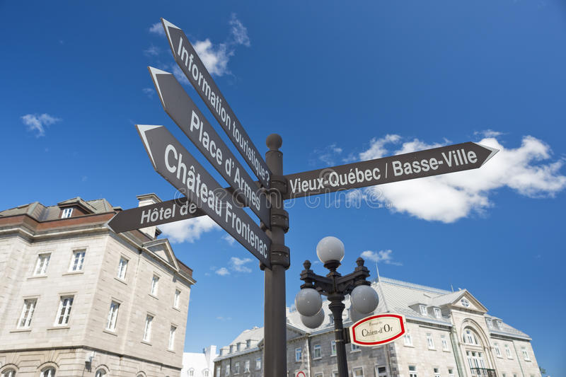 Quebec city street sign. Old town quebec city street sign stock images