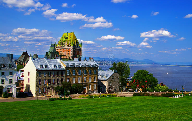 Quebec City. View of Quebec City, Canada, with Frontenac royalty free stock photo