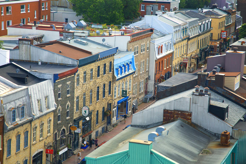 Quebec city. View of st-John street in St-Jean-Baptiste area in Quebec city in Canada. The oldest city in north america royalty free stock photography