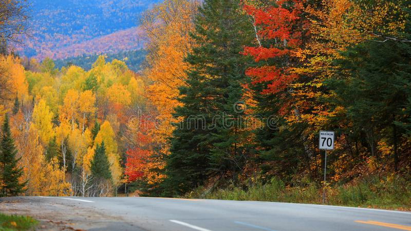 Quebec countryside in autumn time. Scenic road through Quebec countryside in autumn time royalty free stock photography