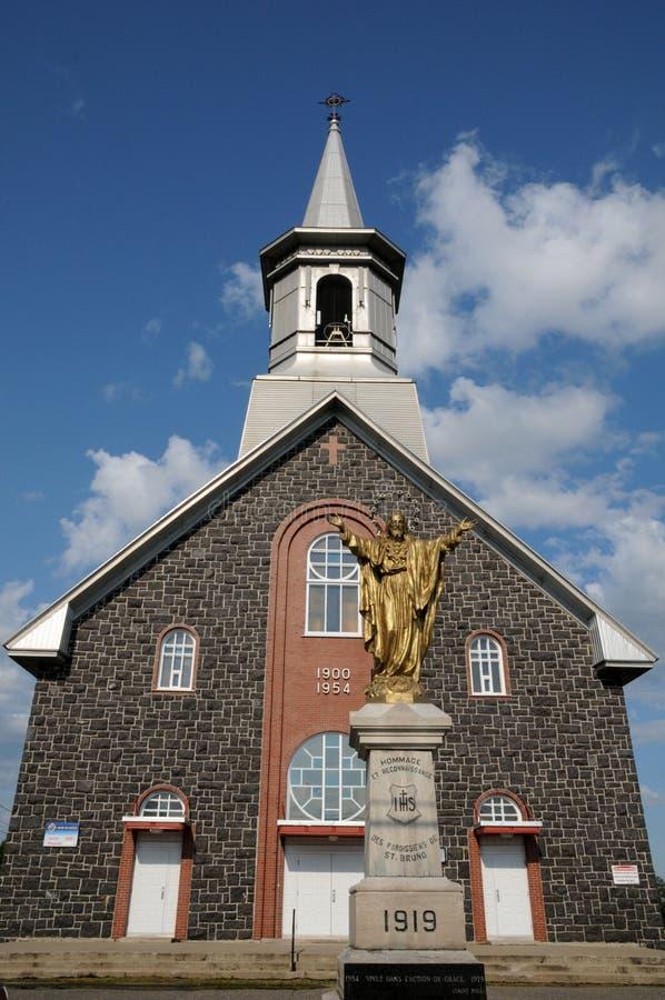 Quebec, de historische kerk van Heilige Bruno stock foto's