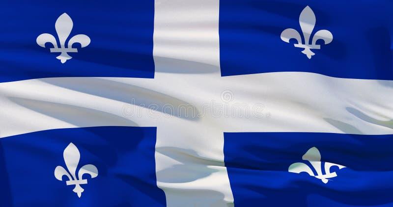 Quebec flagga, Kanada, på siden- texturbakgrund Illustration för highquality 3D royaltyfri illustrationer