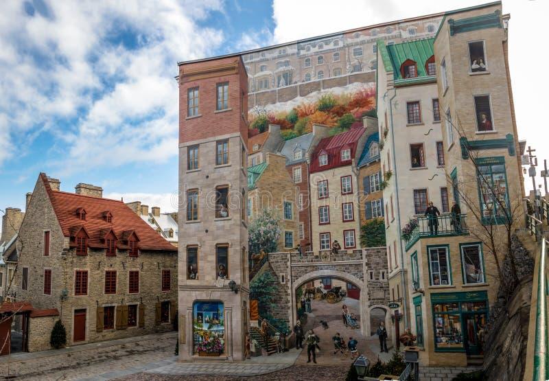 Quebec Fresco Fresque des Quebecois - de Stad van Quebec, Canada stock afbeelding