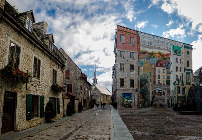 Quebec Fresco Fresque des Quebecois en Plaats Royale - de Stad van Quebec, Canada royalty-vrije stock foto