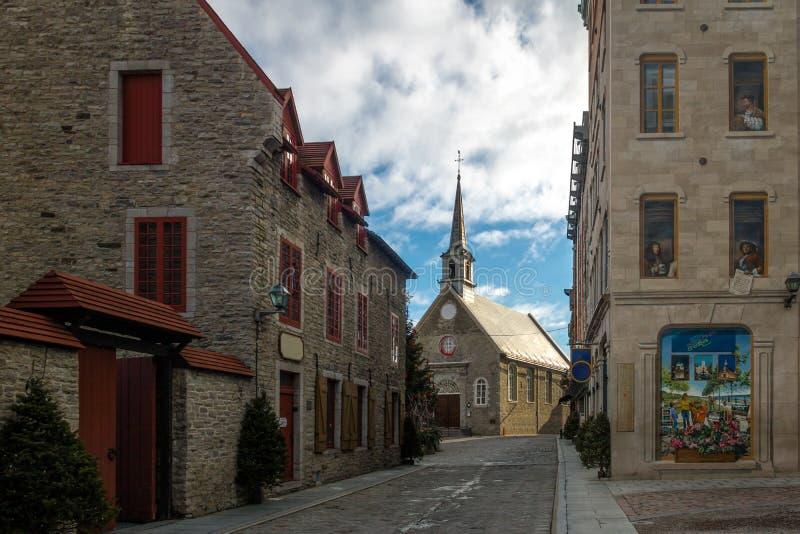 Quebec-Fresko Fresque DES Quebecois und Platz Royale - Québec-Stadt, Kanada lizenzfreies stockfoto