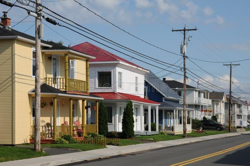 Quebec, het kleine dorp van Heilige Bruno stock foto