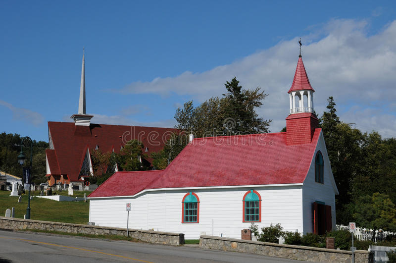 Quebec, the historical chapel of Tadoussac stock images