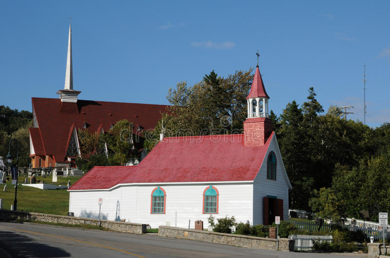Quebec, the historical chapel of Tadoussac stock photography