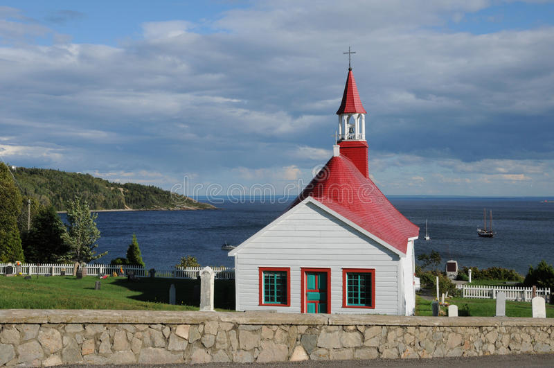 Quebec, the historical chapel of Tadoussac stock photos